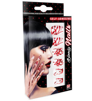 Bloody False Fake Nails Set Of 12 Self Adhesive Halloween Zombie