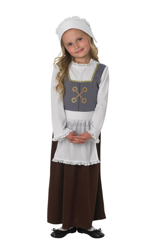 Childrens Tudor Girl Fancy Dress Costume Medieval Servant Outfit 7-8 Yrs