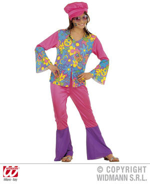 Childrens Hippy Girl Fancy Dress Costume 70S Hippie Flower Power Outfit 128Cm