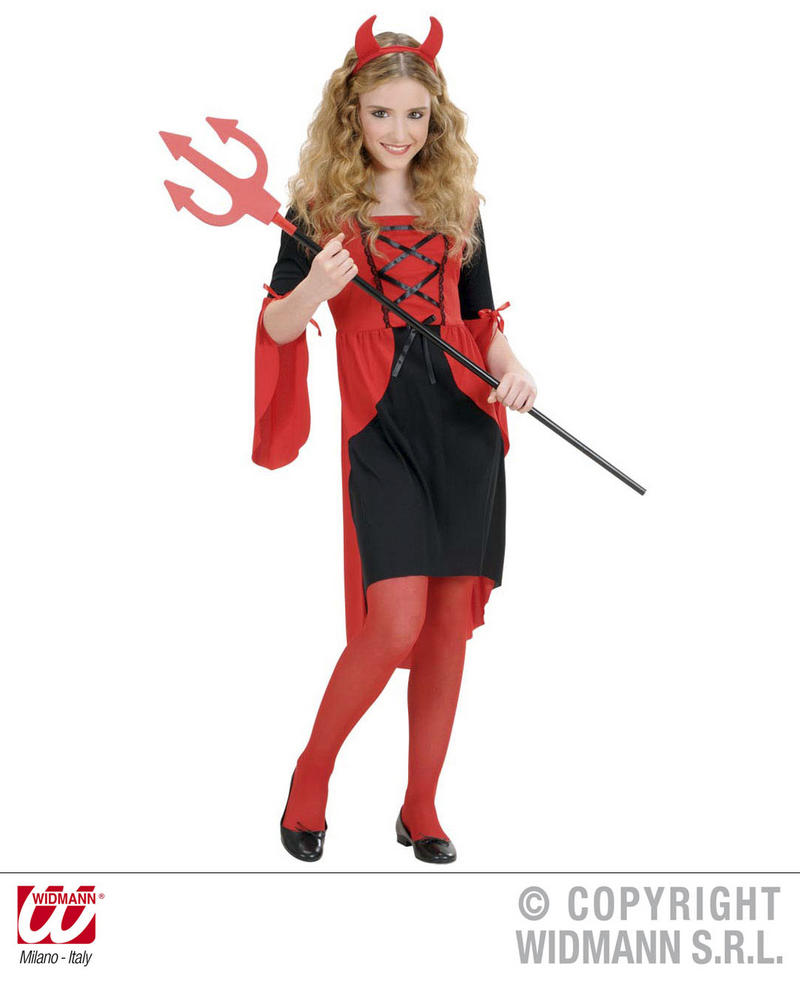 Childrens Devil Girl Fancy Dress Costume Satan Halloween Outfit 128Cm