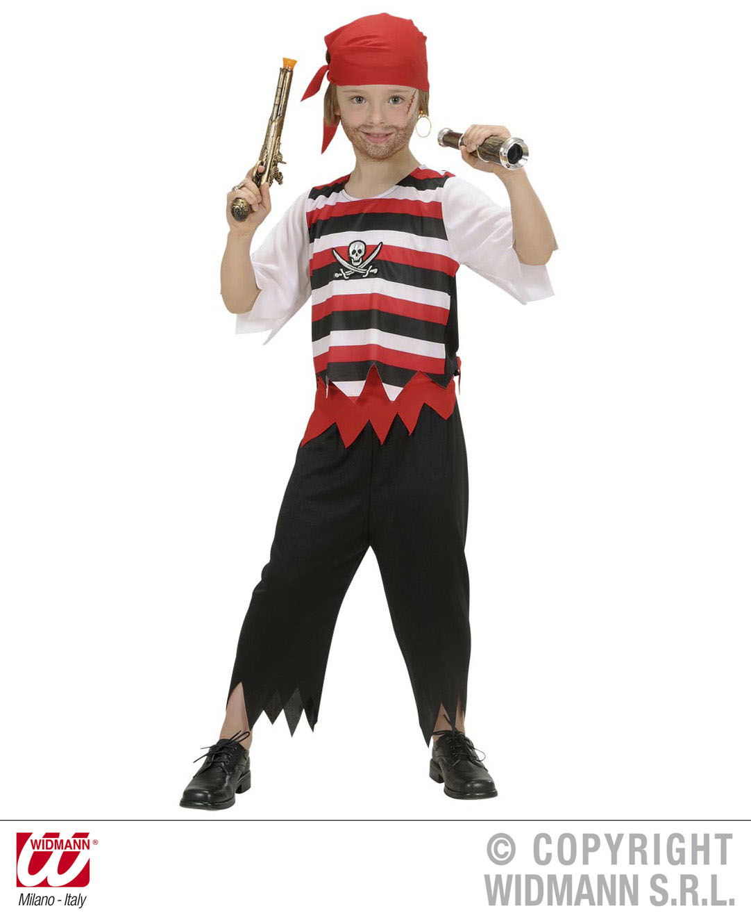 Childrens Boys Pirate Fancy Dress Outfit Jolly Roger Costume 5-7 Yrs
