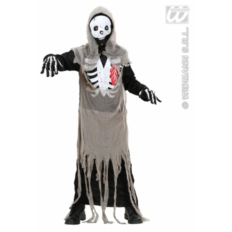 Childrens Zombie Skeleton Fancy Dress Costume Scary Halloween Outfit 140Cm