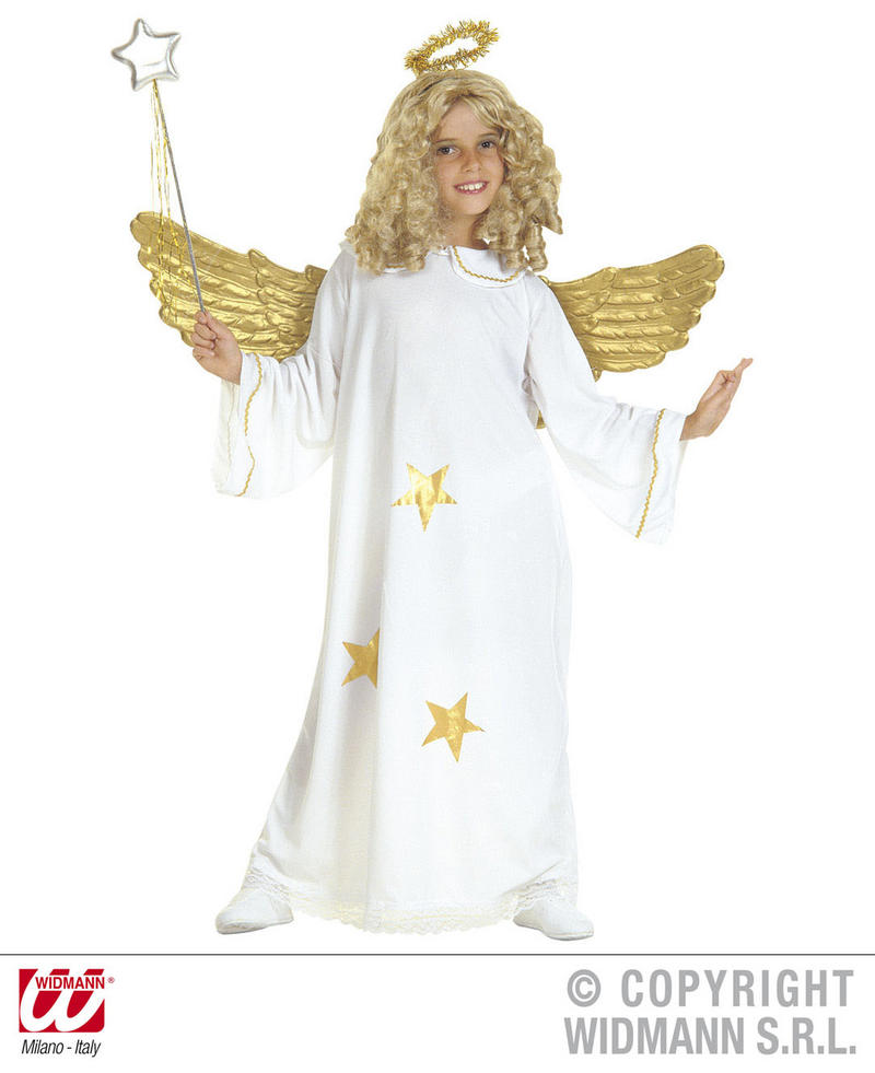 Childrens White & Gold Angel Fancy Dress Costume Gabriel Outfit 140Cm