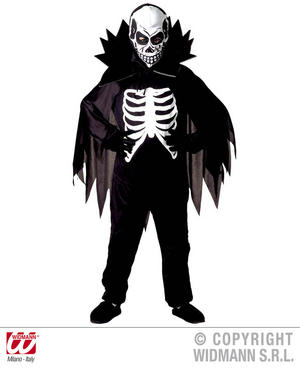 Childrens Skeleton Fancy Dress Costume With Collar & Horns Halloween 140Cm