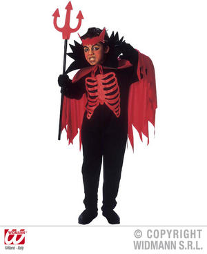 Childrens Devil Fancy Dress Costume With Collar & Horns Halloween 140Cm