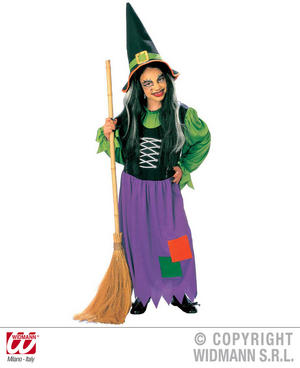 Childrens Blue &Green Witch Fancy Dress Costume Halloween Witch Outfit 140Cm