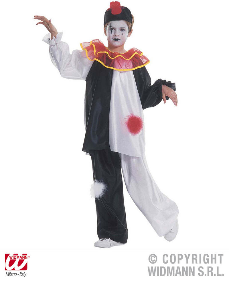 Childrens Black & White Court Jester Fancy Dress Costume 8-10 Yrs