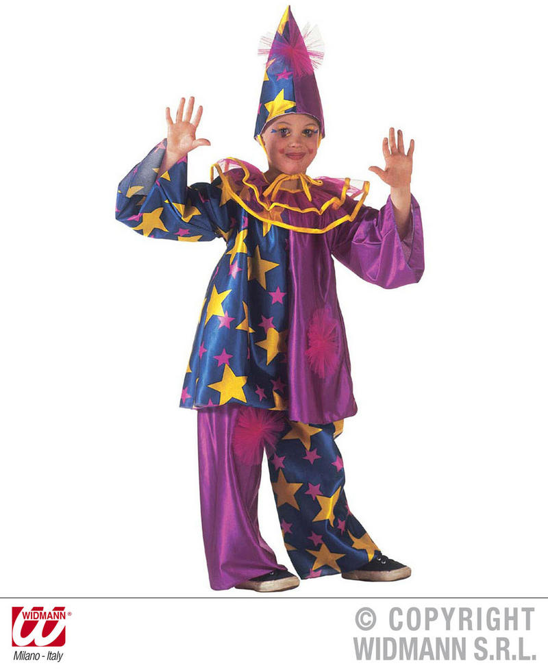 Childrens Purple Clown Fancy Dress Costume Jester Outfit & Hat 140Cm