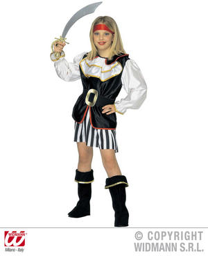 Childrens Deluxe Pirate Girl Fancy Dress Costume Set 8-10 Yrs