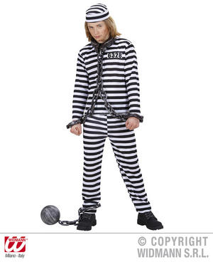 Childrens Black White Convict Fancy Dress Costume Halloween Prisoner Outfit 140C