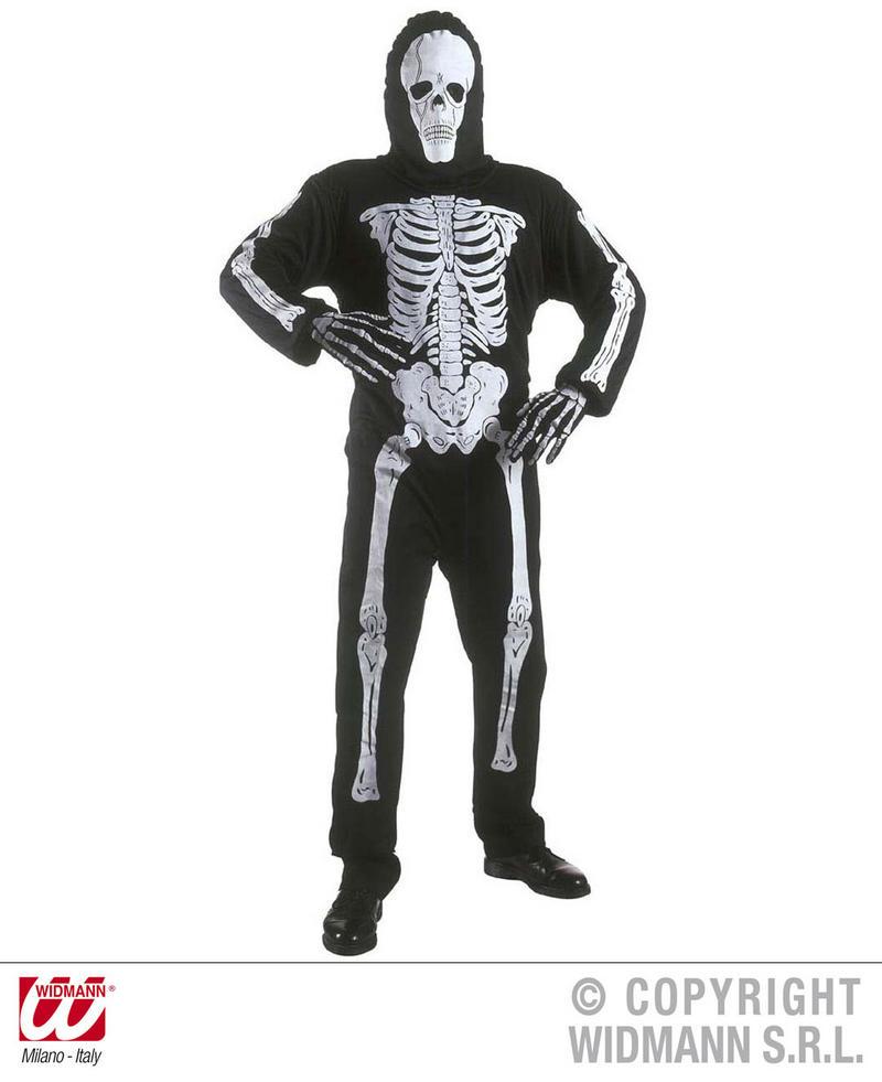 Childrens Scary Skeleton Fancy Dress Costume Halloween Skull Outfit 158Cm