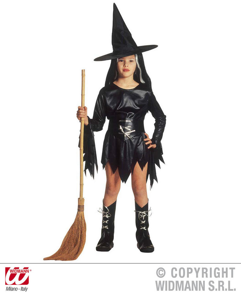 Childrens Evil Witch Halloween Fancy Dress Costume & Hat 11-13 Yrs