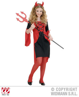 Childrens Devil Girl Fancy Dress Costume Satan Halloween Outfit 158Cm