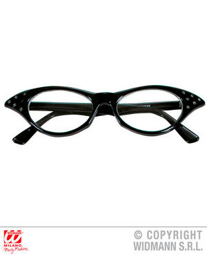 Black Glasses With Strass 1950S Rock N Roll Fancy Dress Costume Accessory