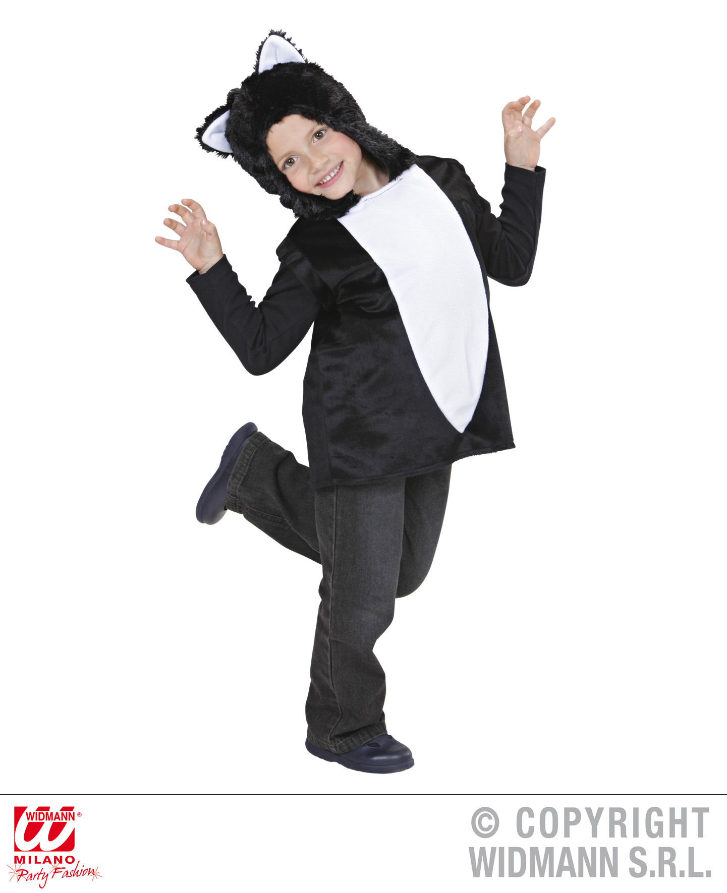Childrens Black Cat Fancy Dress Costume Halloween Cat Kitten Outfit 3-5 Yrs
