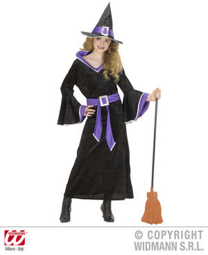 Childrens Black Witch Fancy Dress Costume & Hat Halloween Outfit 158Cm