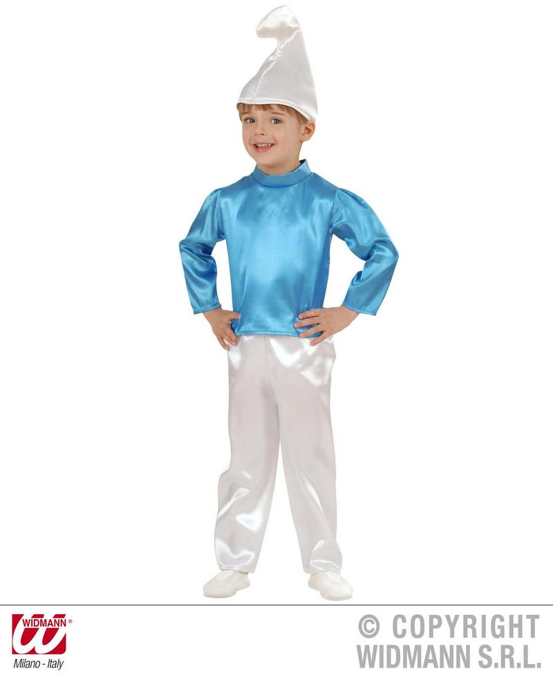 Childrens Smurf Fancy Dress Costume Blue Dwarf Fairy Tale Outfit 1-2 Yrs