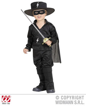 Childrens Black Bandit Fancy Dress Costume Zorro Musketeer Outfit 1-2 Yrs