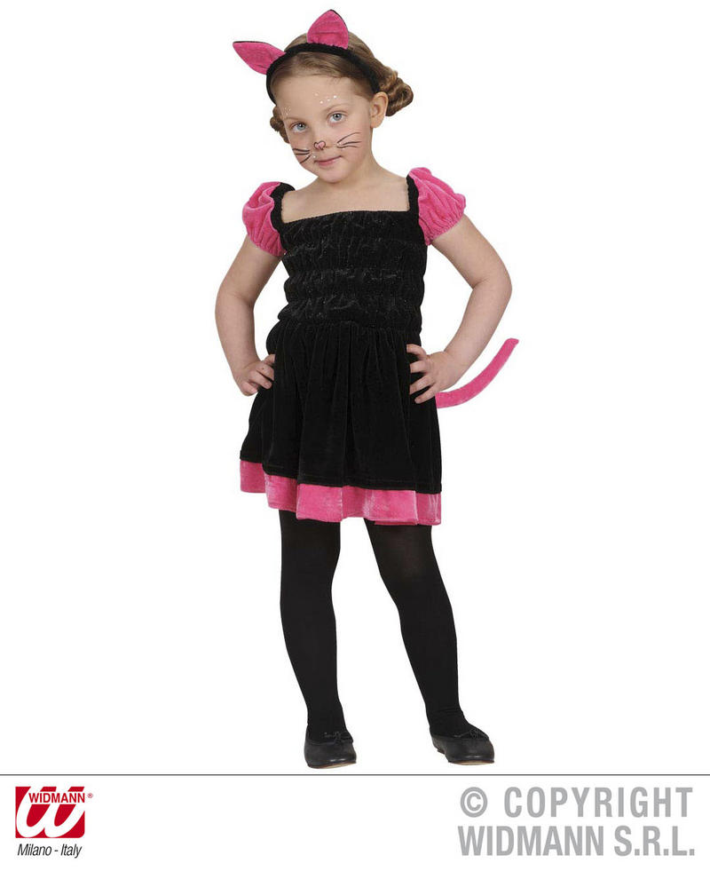 Childrens Black & Pink Cat Fancy Dress Costume Halloween Kitten Outfit 2-3 Yrs