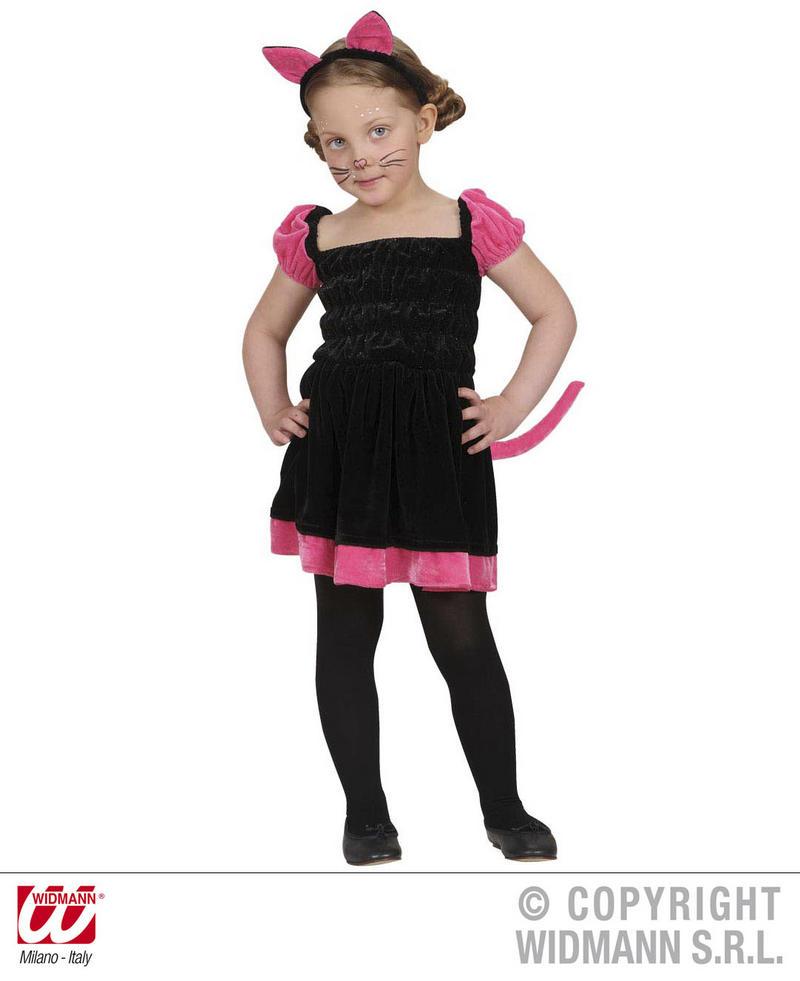 Childrens Black & Pink Cat Fancy Dress Costume Halloween Kitten Outfit 1-2 Yrs
