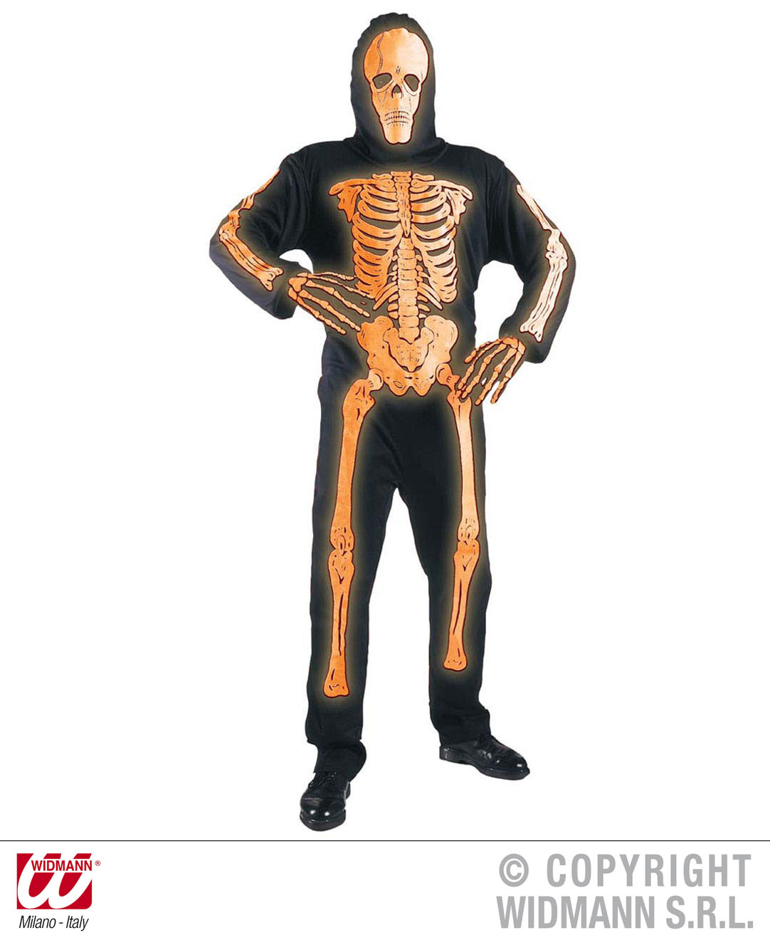 Childrens 3D Neon Orange Skeleton Fancy Dress Costume Halloween Outfit 158Cm