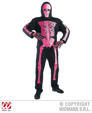 Childrens 3D Neon Pink Skeleton Fancy Dress Costume Halloween Outfit 128Cm