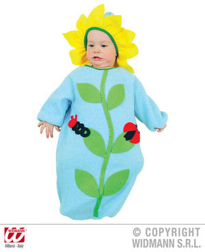 Baby Blue Flower Bonnet And Bib Nature Wild Life Fancy Dress Costume