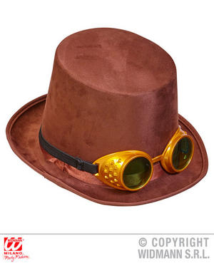 Felt Steampunk Top Hat With Goggles Victorian Fancy Dress Costume Accessory