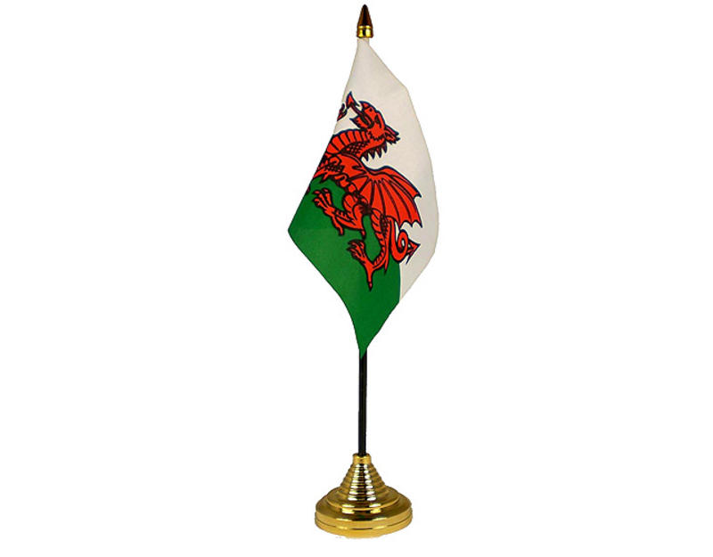 Wales Hand Table or Waving Flag Welsh St Davids Flag