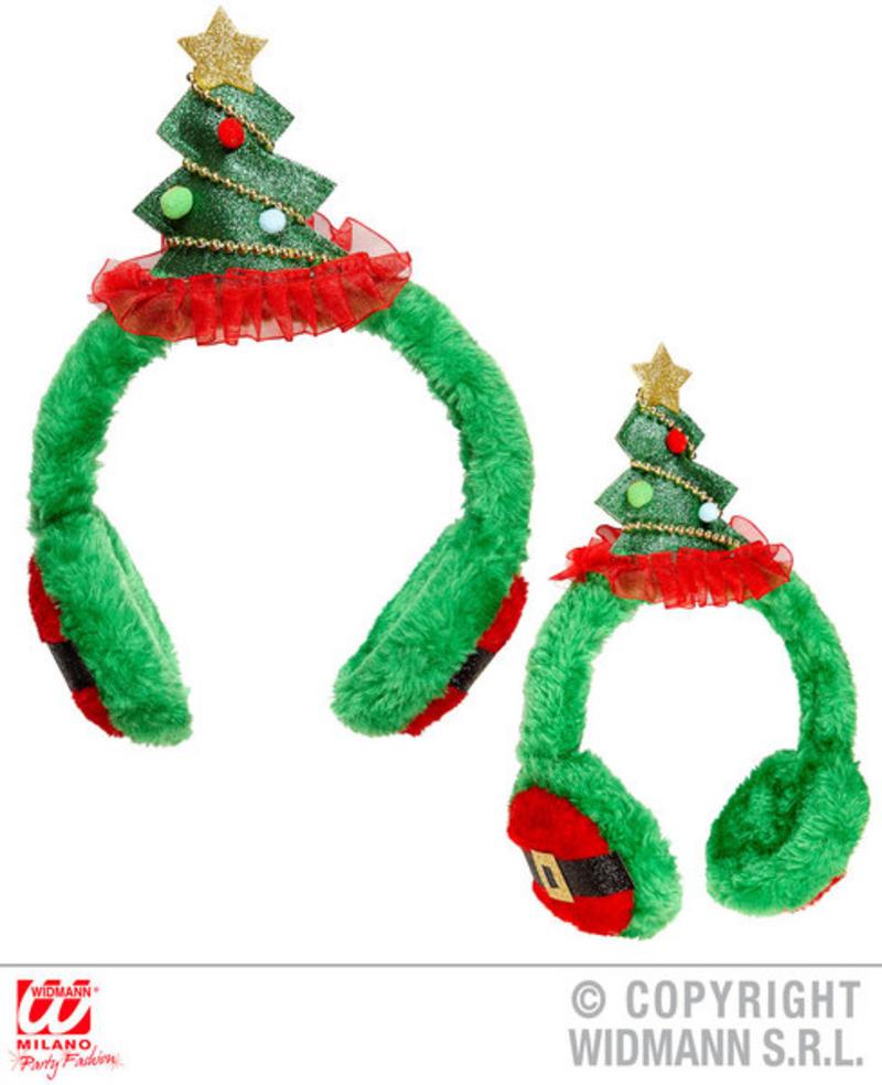 Christmas Tree Earmuffs Festive Xmas Fancy Dress Costume Accessory