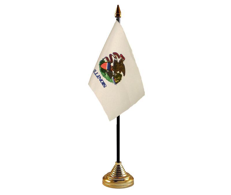 Illinois American State Hand Table or Waving Flag USA America