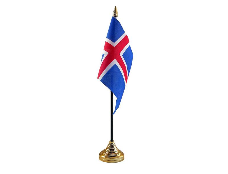 Iceland Hand Table or Waving Flag Country Icelandic