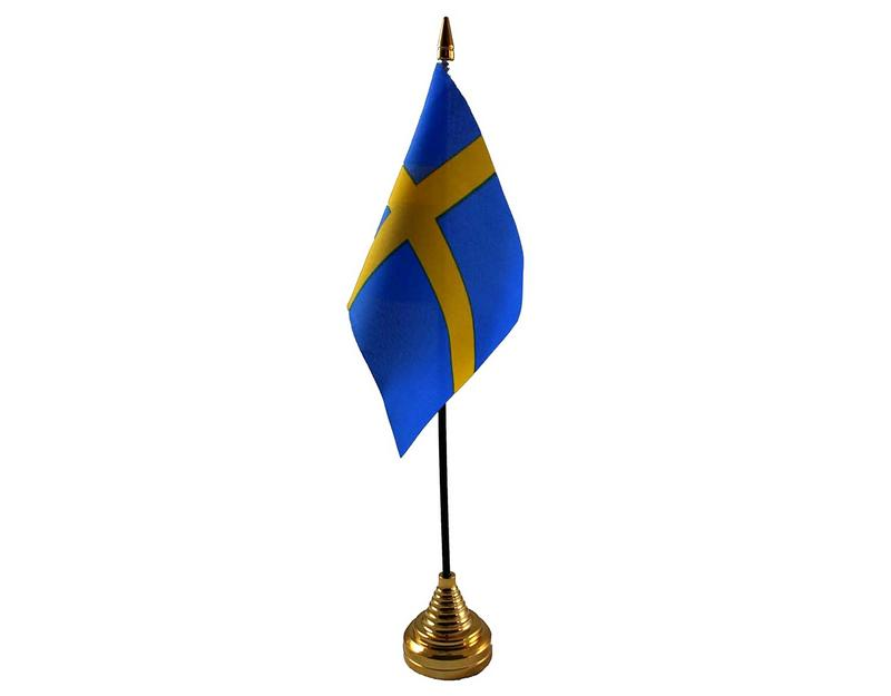 Sweden Hand Table or Waving Flag Country Swedish