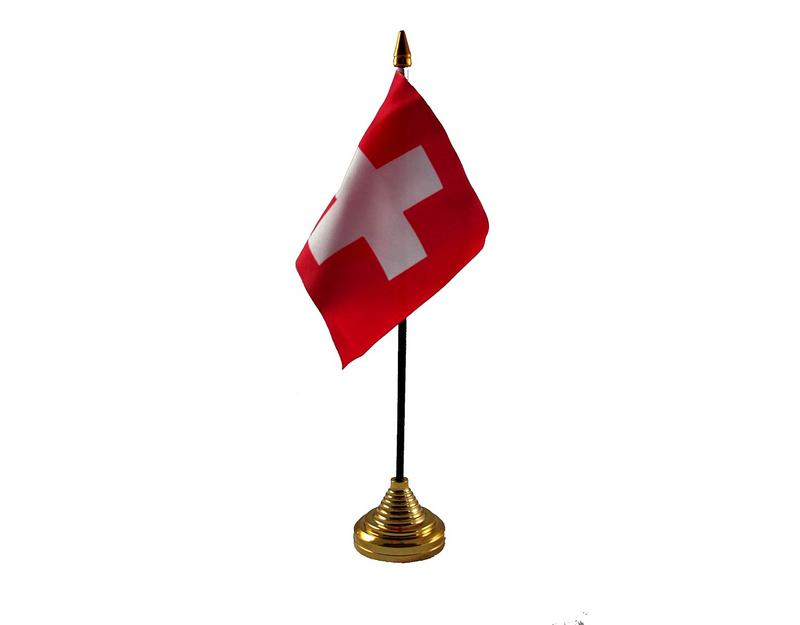 Switzerland Hand Table or Waving Flag Country Swiss