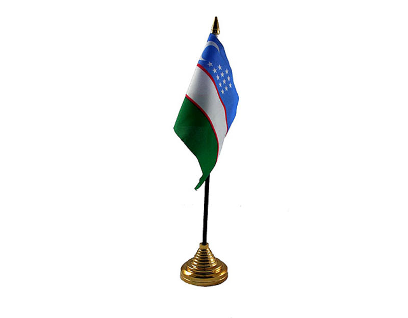 Uzbekistan Hand Table or Waving Flag