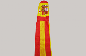 "Spain Spanish Flag With Crest Windsock - 100% Nylon - 1.5M Or 60"" Long"