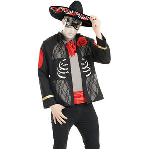 Mens Mexican Day Of The Dead Halloween Costume Skeleton Fancy Dress Outfit M-XL