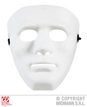 Anonymous Mask White Fancy Dress Costume Robot Halloween Accessory Adult