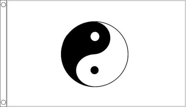 Yin Yang White Chinese Symbol Small 3ft X 2ft Flag Banner Party