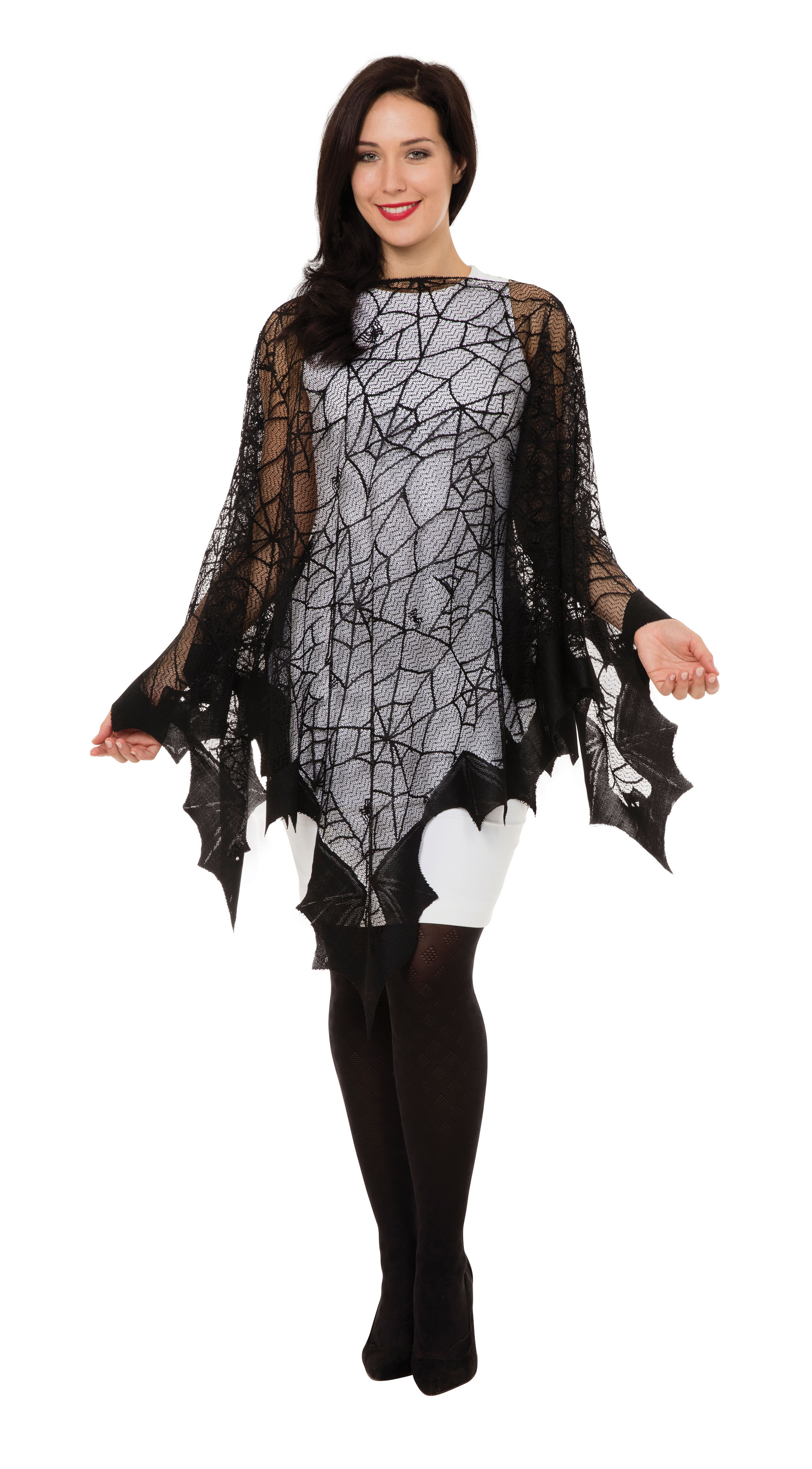 Spiderweb & Bat Fishnet Cape Halloween Fancy Dress Costume Womens Adult UK 10-14