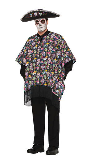 Day of the Dead Serape Halloween Fancy Dress Costume Outfit Adult One Size