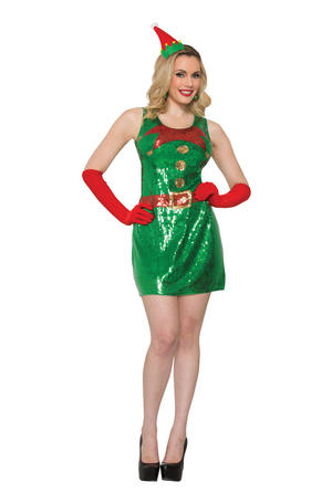 Elf Dress Sequin Christmas Fancy Dress Costume Outfit Womens Adult UK 6-8