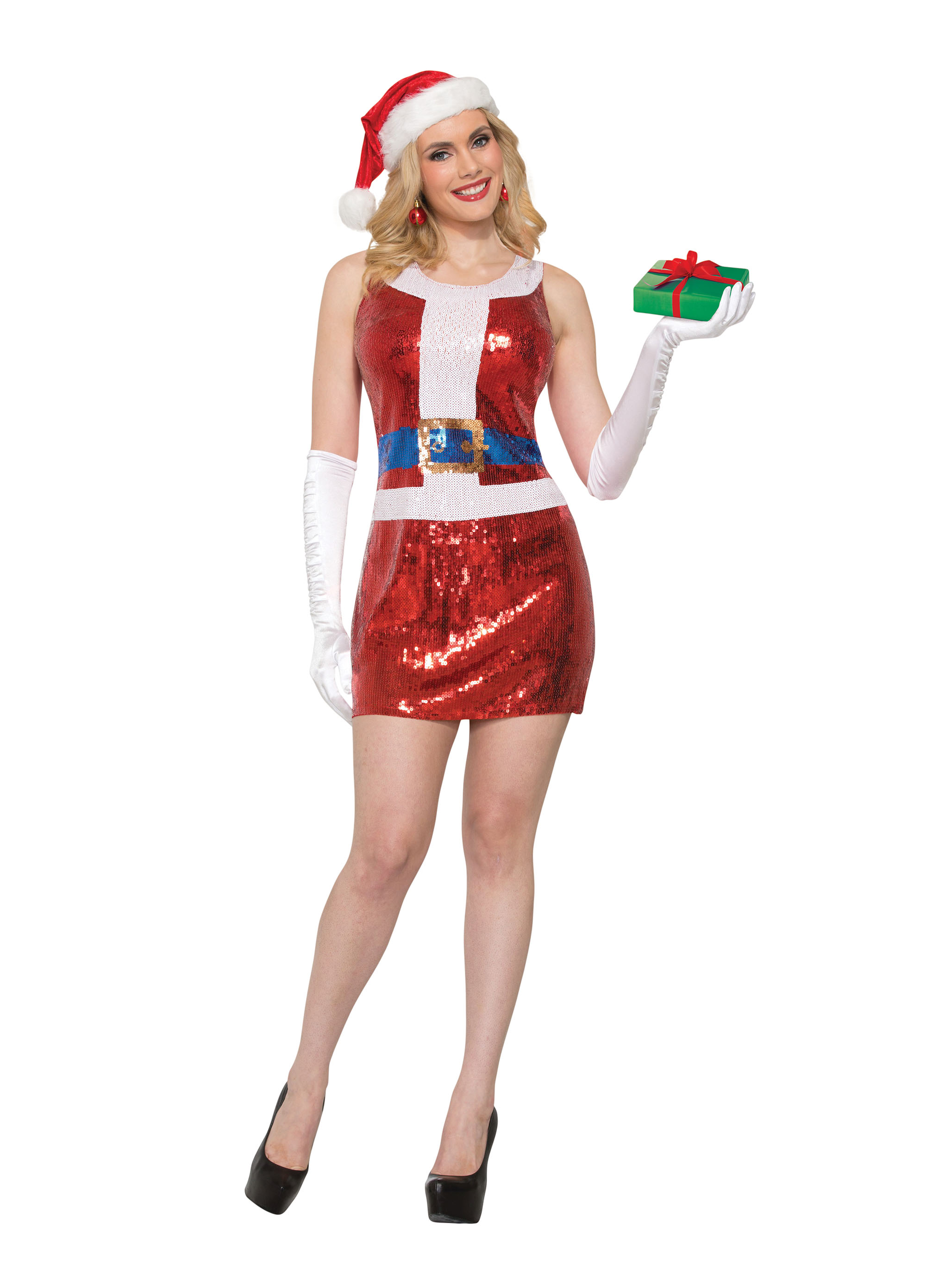 Miss Santa Sequin Christmas Fancy Dress Costume Outfit Womens Adult UK 10-12