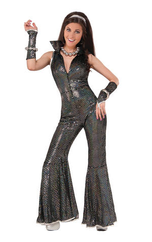 Disco Jumpsuit Fancy Dress Costume Outfit Womens Adult UK 10-14