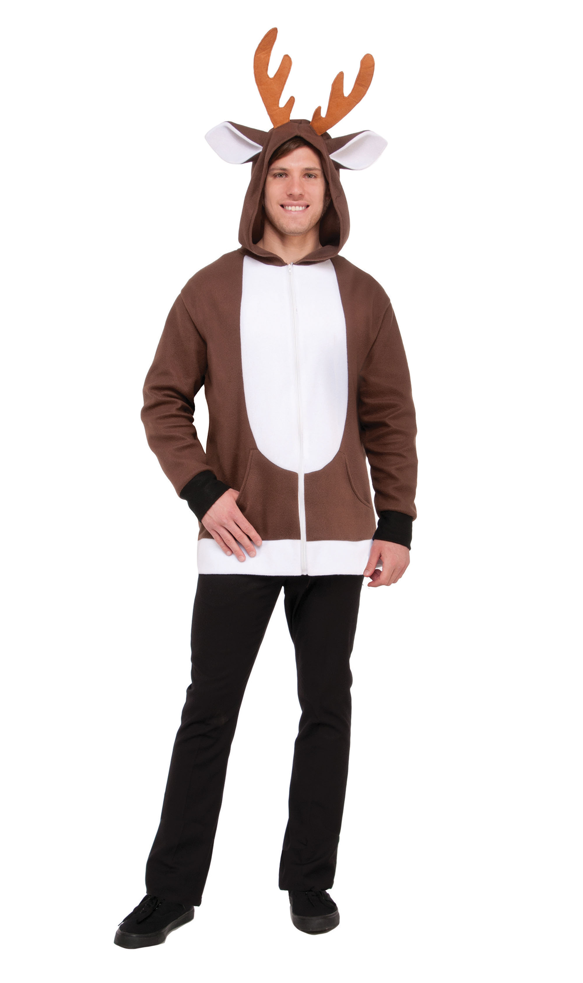 Reindeer Hoodie Unisex Christmas Fancy Dress Costume Male Mens Adult One Size