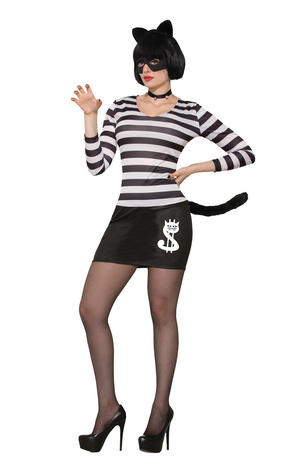 Cat Burglar Halloween Fancy Dress Costume Outfit Womens Adult UK 10-14