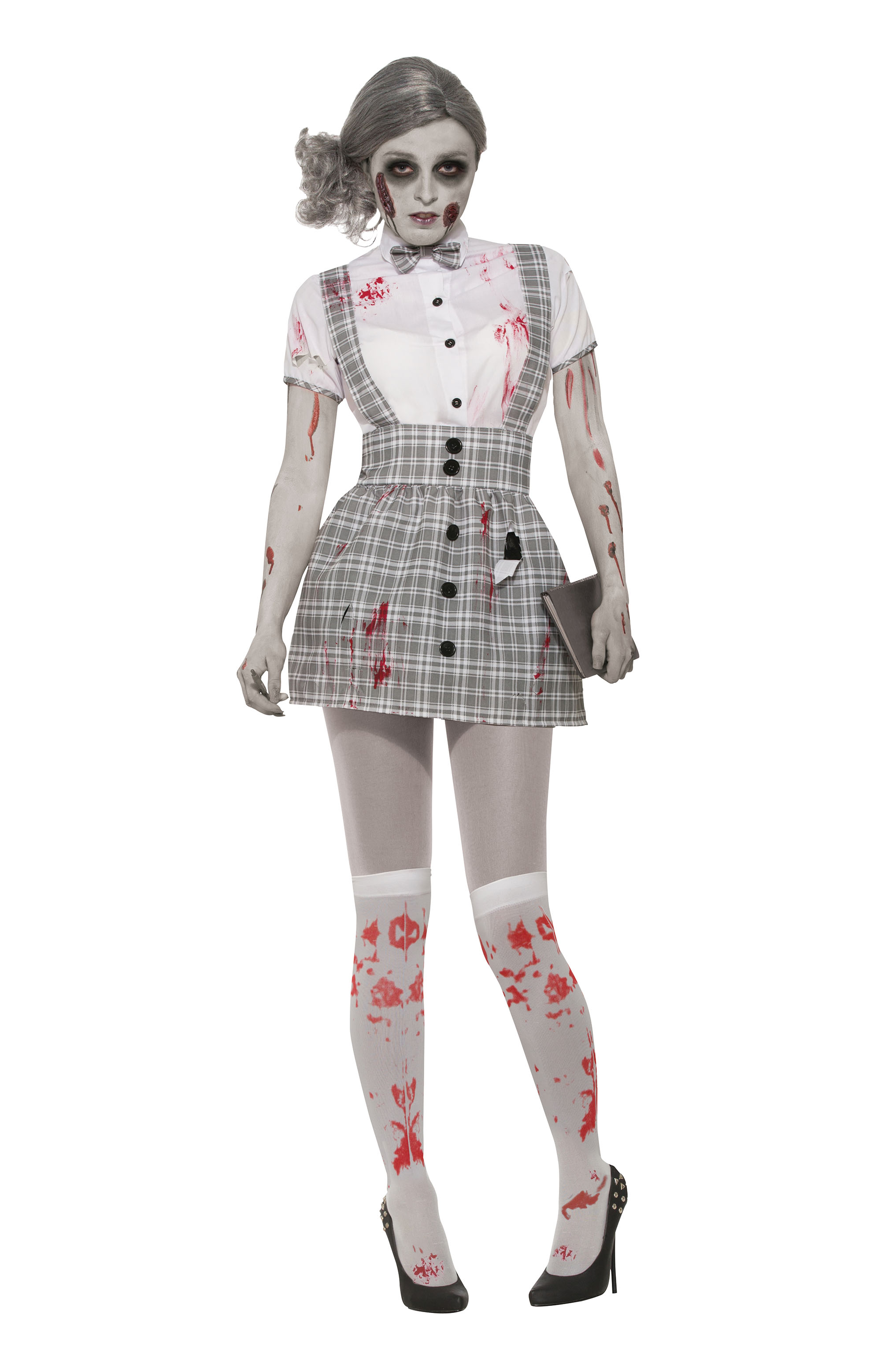 Zombie Schoolgirl Halloween Fancy Dress Costume Outfit Womens Adult UK 10-14