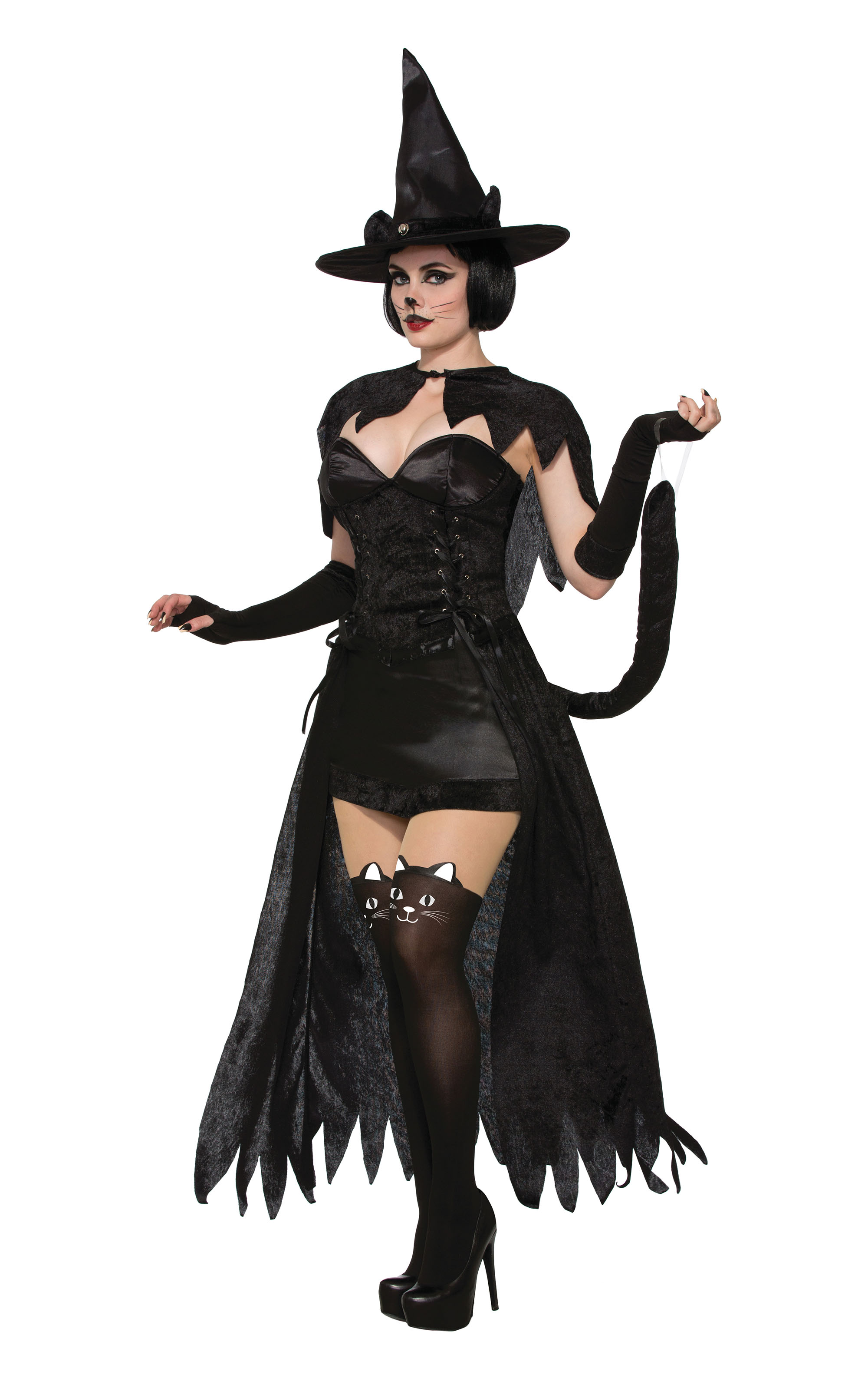 Black Cat Witch Costume Halloween Fancy Dress Costume Womens Adult UK 10-14