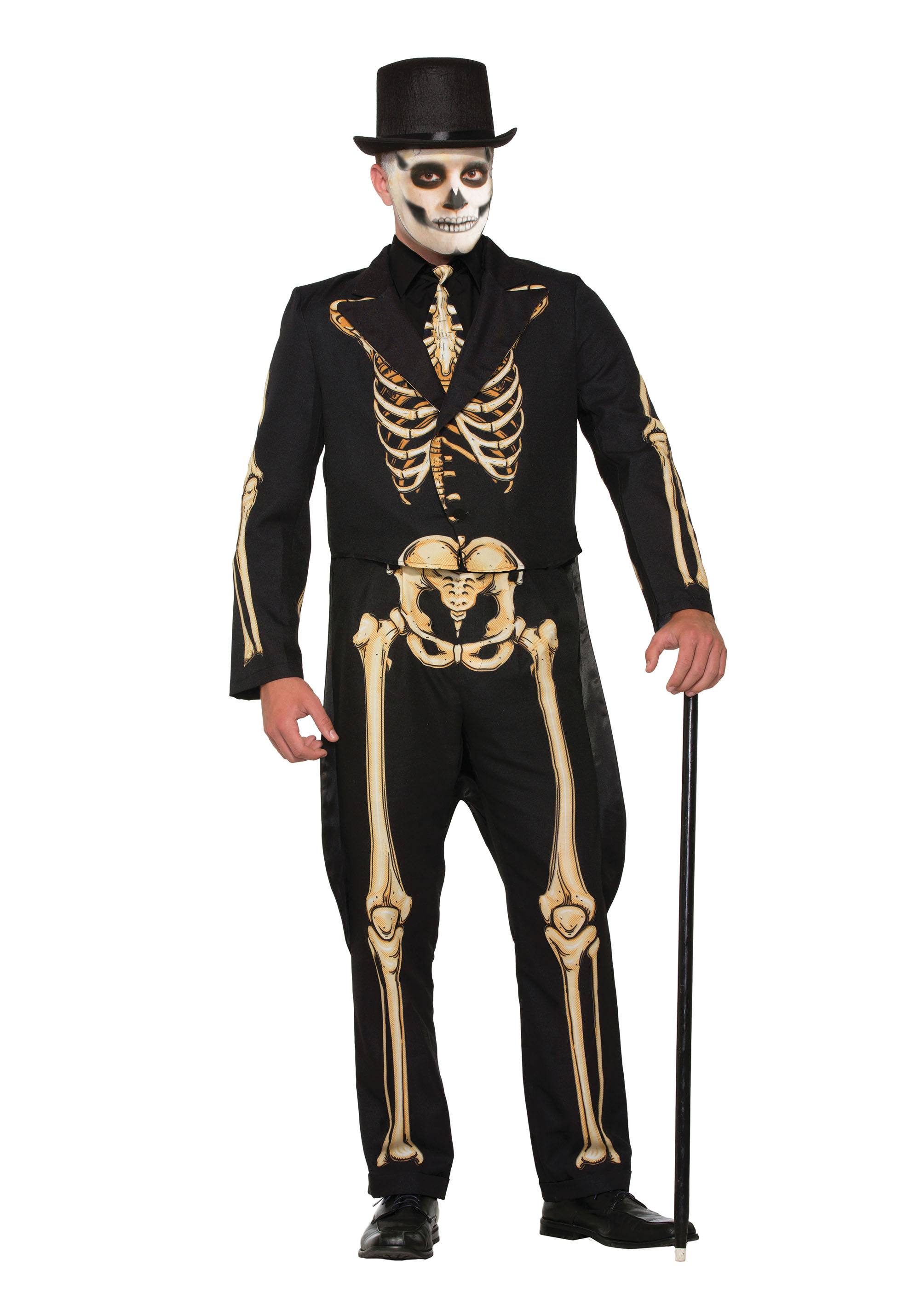 Skeleton Formal Costume Halloween Fancy Dress Costume Male Mens Adult One Size