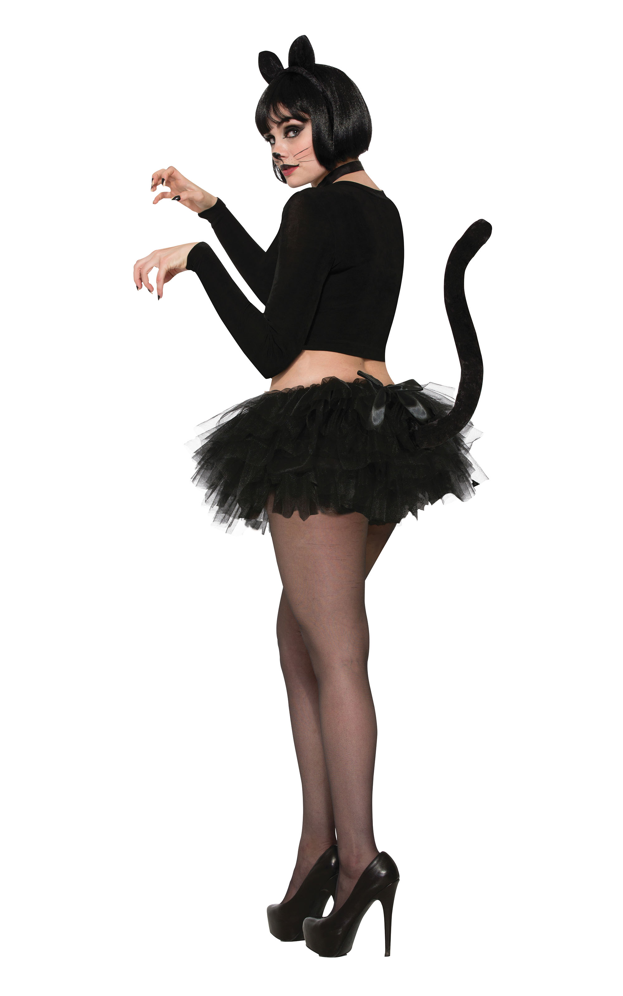 Cat Tutu Black w/Tail Halloween Fancy Dress Costume Outfit Womens Adult UK 10-12